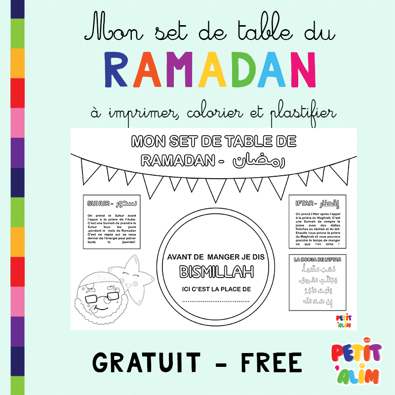 Freebies Mon Set De Table Du Ramadan Petit Alim